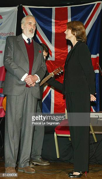 Actor Christopher Lee and actress Charlotte Rampling attend the opening ceremony of the 15th Dinard Festival Of British Film October 7 2004 in Dinard...
