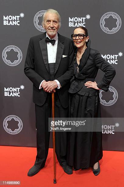 Actor Christopher Lee and his wife Gitte pose during the Montblanc De La Culture Arts Patronage Award 2011 at the Deichtorhallen on May 31 2011 in...
