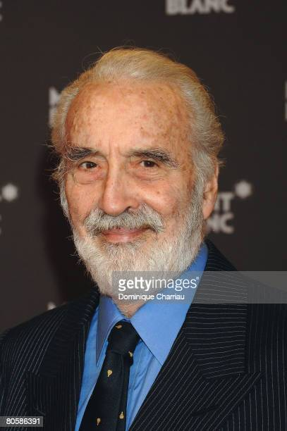 Actor Christopher Lee attend the 'Writing Time', Robert Wilson's watch launch gala hosted by Montblanc during the Salon International de la Haute...