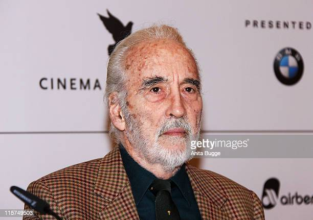 """Actor Christopher Lee attends the """"Cinema for Peace Berlin 2009"""" photocall during the 59th Berlin International Film Festival at the Adlon on..."""