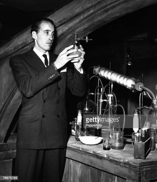 1957 Actor Christopher Lee on the set of 'The curse of Frankenstein'