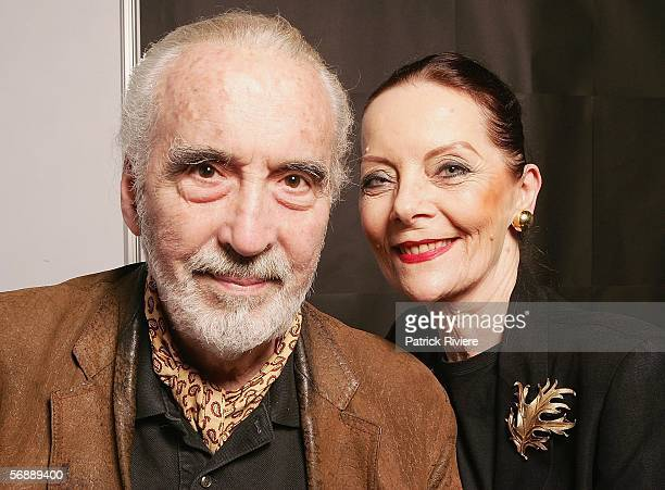 Actor Christopher Lee poses for photograph with his wife Brigitta during the Bangkok International Film Festival at Siam Paragon Festival Venue on...
