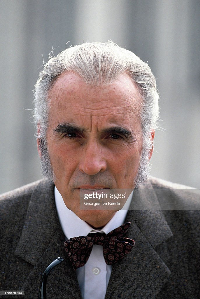 Actor Christopher Lee poses on a shoot for the TV movie 'Sherlock Holmes and the Leading Lady', in which he interprets the famous detective, on 1991 ca. in London, England.
