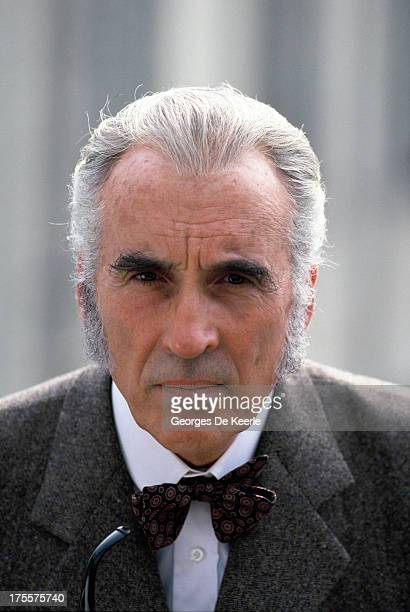 Actor Christopher Lee poses on a shoot for the TV movie 'Sherlock Holmes and the Leading Lady' in which he interprets the famous detective on 1991 ca...