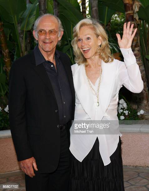 """Actor Christopher Lloyd and Brenda Siemer-Scheider arrive to """"A Tribute to Roy Scheider"""" held at The Beverly Hills Hotel on April 4, 2009 in Beverly..."""