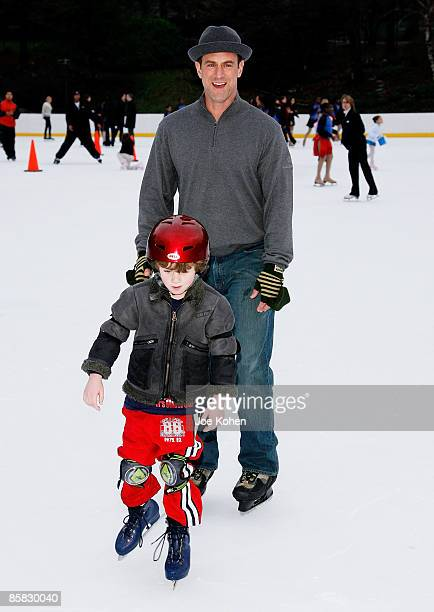 Actor Christopher Meloni and his son Dante Meloni ice skate at the 2009 Skating with the Stars at Wollman Rink in Central Park on April 6 2009 in New...