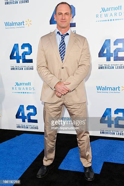 Actor Christopher Meloni attends the premiere of Warner Bros Pictures' And Legendary Pictures' '42' at TCL Chinese Theatre on April 9 2013 in...