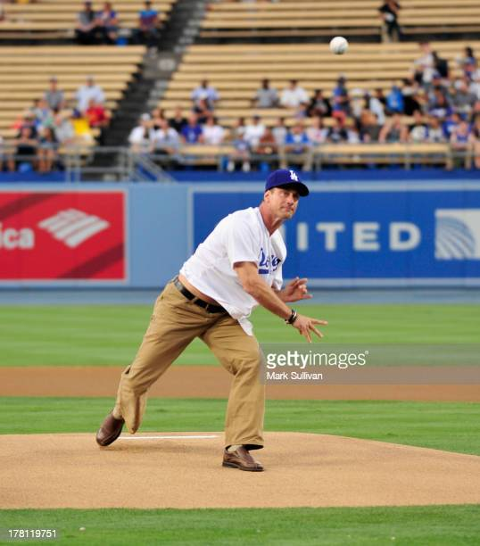 Actor Christopher Meloni throws out the ceremonial first pitch before the MLB game between the Chicago Cubs and Los Angeles Dodgers at Dodger Stadium...