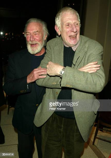 Actor Christopher Plummer and director Jonathan Miller attend the after party for Lincoln Centers opening night of King Lear on March 4 2004 in New...