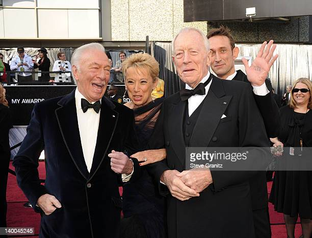Actor Christopher Plummer Catherine Berlet and actor Max von Sydow arrives at the 84th Annual Academy Awards held at the Hollywood Highland Center on...