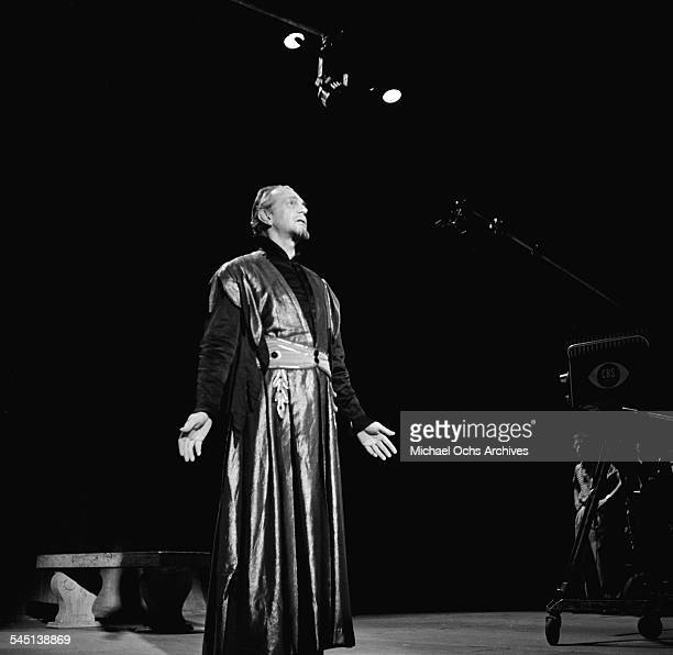 Actor Christopher Plummer performs a scene from Shakespeare on the 'Toast of the Town' show hosted by Ed Sullivan at the Maxine Elliott Theater in...