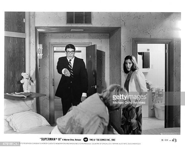 Actor Christopher Reeve and actress Annette O'Toole in a scene from the Warner Bros movie Superman III circa 1983