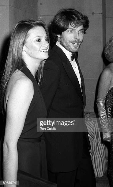 Actor Christopher Reeve and date Gae Exton attending Diana Vreeland Costume Exhibit on December 8 1980 at the Metropolitan Museum of Art in New York...