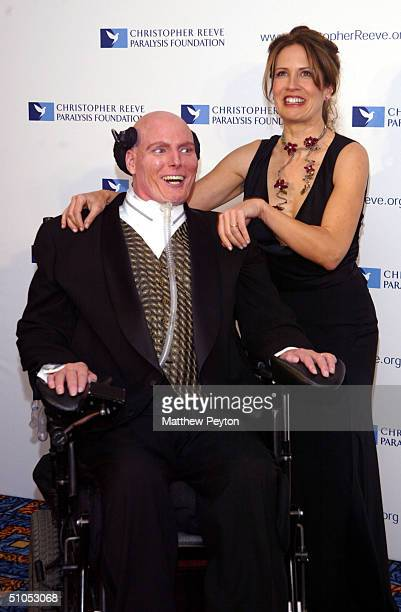 """Actor Christopher Reeve and wife Dana attend the Christopher Reeve Paralysis Foundation 13th Annual """"A Magical Evening"""" Gala at the Marriot Marquis..."""