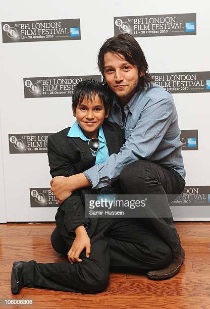 Actor Christopher RuizEsparza and Director Diego Luna attend the 'Abel' premiere during the 54th BFI London Film Festival at the Vue West End on...