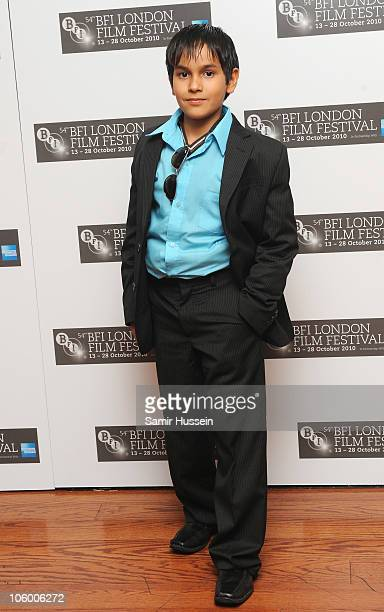 Actor Christopher RuizEsparza attends the 'Abel' premiere during the 54th BFI London Film Festival at the Vue West End on October 25 2010 in London...