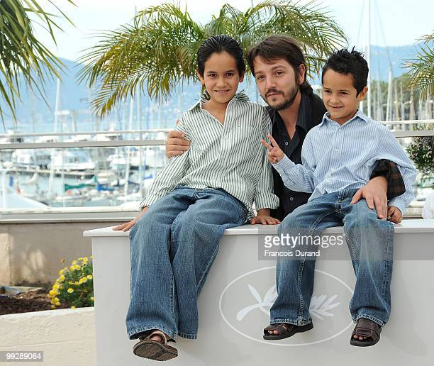 Actor Christopher RuizEsparza director Diego Luna and actor Gerardo RuizEsparza attends the 'Abel' Photocall at the Palais des Festivals during the...