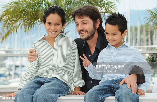 Actor Christopher RuizEsparza director Diego Luna and Gerardo RuizEsparza attends the 'Abel' Photocall at the Palais des Festivals during the 63rd...
