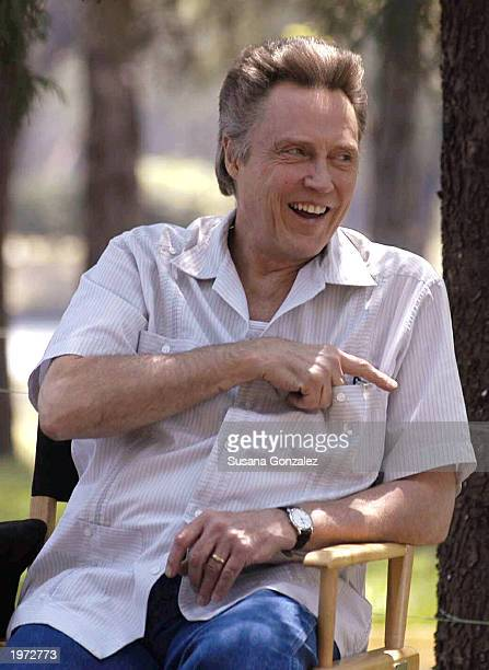 Actor Christopher Walken gestures and laughs before filming a scene of Man On Fire with actor Denzel Washington May 4 2003 in Mexico City Mexico