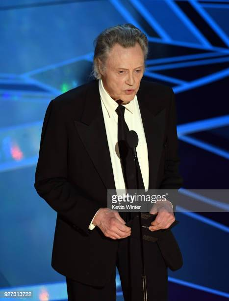 Actor Christopher Walken speaks onstage during the 90th Annual Academy Awards at the Dolby Theatre at Hollywood Highland Center on March 4 2018 in...