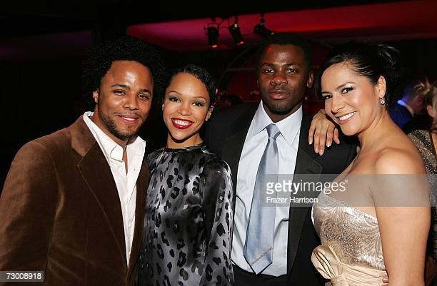 Actor Christopher Warren and guest actor Derek Luke and Sophia Luke attend the NBC/Universal Golden Globe After Party held at the Beverly Hilton on...