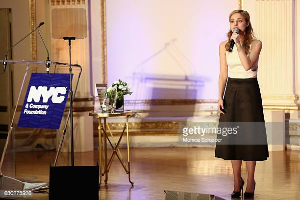 Actor Christy Altomare performs onstage during the NYC Company Foundation's 16th Annual Visionaries Voices gala at The Plaza Hotel on December 19...