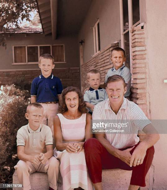 Actor Chuck Connors at home with his wife Elizabeth Jane Riddell Connors and their four sons Michael Connors Jeffrey Connors Stephen Connors and...