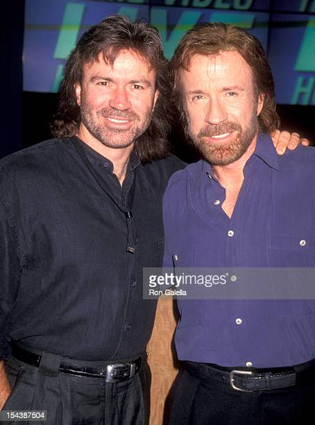 Actor Chuck Norris and brother Aaron Norris attend the 1994 Video Software Dealers Association Convention on July 25 1994 at Las Vegas Convention...