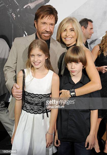 Actor Chuck Norris and family arrive at Los Angeles premiere of The Expendables 2 at Grauman's Chinese Theatre on August 15 2012 in Hollywood...