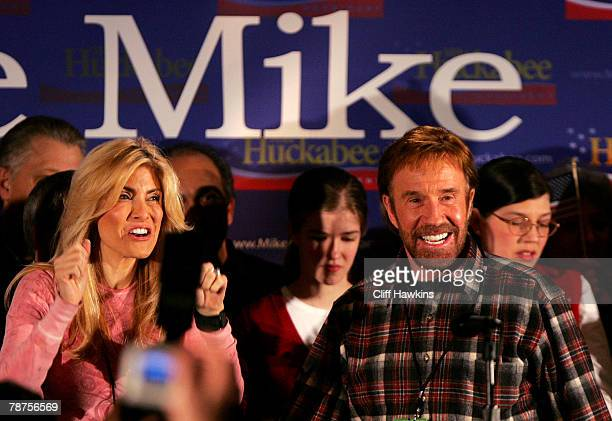 Actor Chuck Norris and his wife Gena O Kelley attend US Republican presidential candidate and former Arkansas Gov Mike Huckabee's caucus night event...
