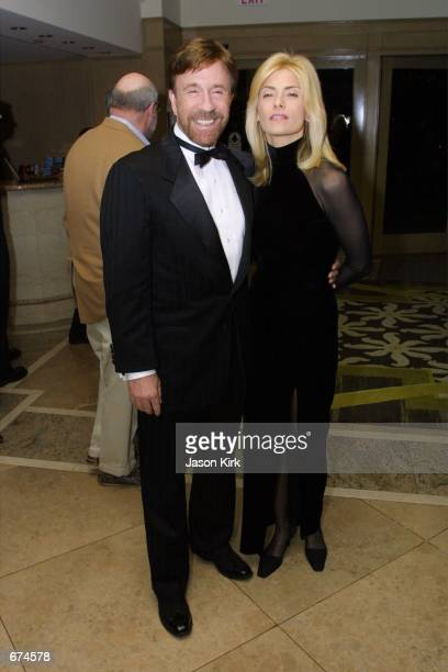 Actor Chuck Norris and his wife Gina arrive at a benefit dinner to salute Chuck Norris for his Kick Drugs Out Of America campaign at the Fairmont...