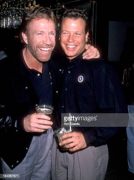 Actor Chuck Norris and son Eric Norris attend the Opening Night Performance of The Moscow Circus on March 14 1990 at the Great Western Forum in...