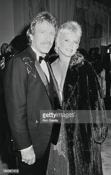 Actor Chuck Norris and wife Diane Holecheck attends 43rd Annual Golden Globe Awards on January 24 1986 at the Beverly Hilton Hotel in Beverly Hills...