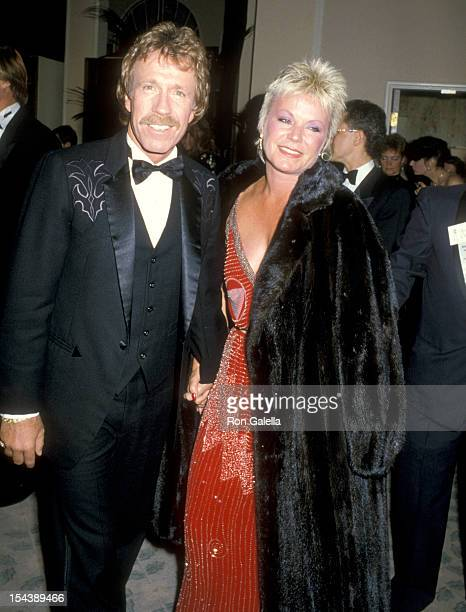 Actor Chuck Norris and wife Diane Holechek attend the 43rd Annual Golden Globe Awards on January 24 1986 at Beverly Hilton Hotel in Beverly Hills...