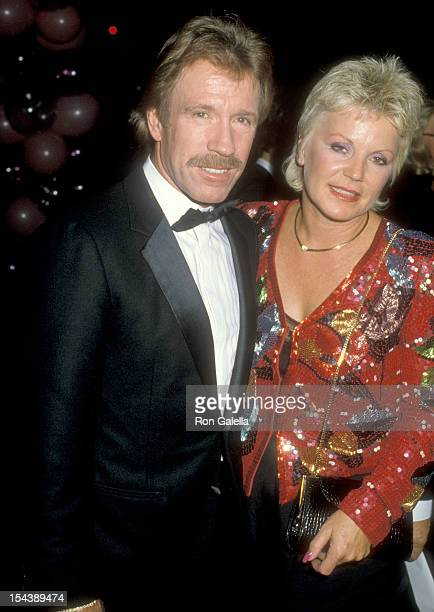 Actor Chuck Norris and wife Diane Holechek attend The Naked Cage Hollywood Premiere on February 22 1986 at Cannon Films Headquarters in Hollywood...
