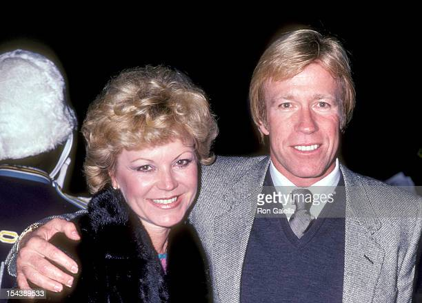 Actor Chuck Norris and wife Diane Holechek attend the Party for the American Film Market on March 24 1981 at Samuel Goldwyn Theatre in Beverly Hills...