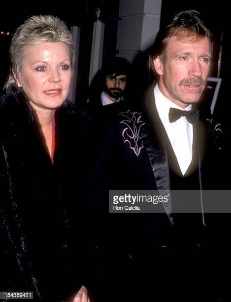 Actor Chuck Norris and wife Diane Holechek attend the Runaway Train Beverly Hills Premiere Party on December 5 1985 at Beverly Hills Hotel in Beverly...