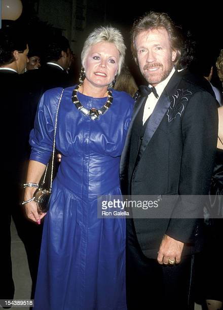Actor Chuck Norris and wife Diane Holechek attend the Second Annual Stuntman Awards on March 22 1986 at KTLA Studios in Hollywood California