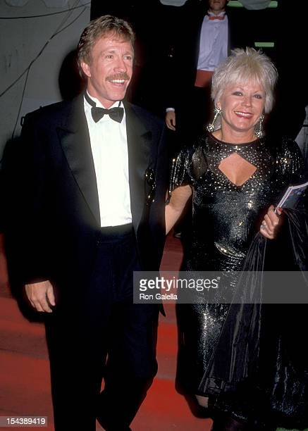 Actor Chuck Norris and wife Diane Holechek attends the 16th Annual American Music Awards on January 30 1989 at Shrine Auditorium in Los Angeles...