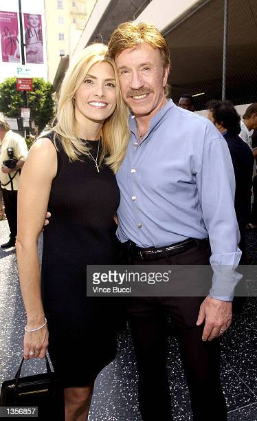Actor Chuck Norris and wife Gena attend a ceremony honoring singer Michael Bolton with a star on the Hollywood Walk of Fame on August 27 2002 in...