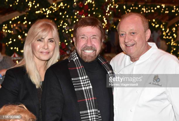 Actor Chuck Norris and wife Gena O'Kelley and Alfons Schuhbeck during the Gut Aiderbichl Christmas Market opening on November 12 2019 in Henndorf am...