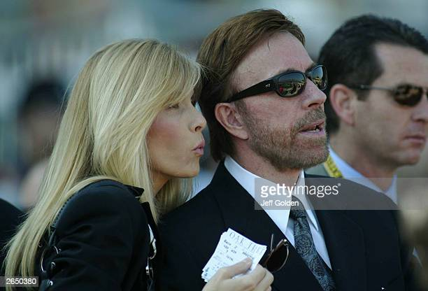 Actor Chuck Norris and wife Gena O'Kelley attend the 2003 Breeders' Cup World Thoroughbred Championships hosted by the Oak Tree Racing Association...