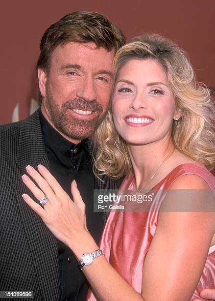 Actor Chuck Norris and wife Gena O'Kelley attend the First Annual World Stunt Awards on May 20 2001 at The Barker Hangar The Santa Monica Air Center...