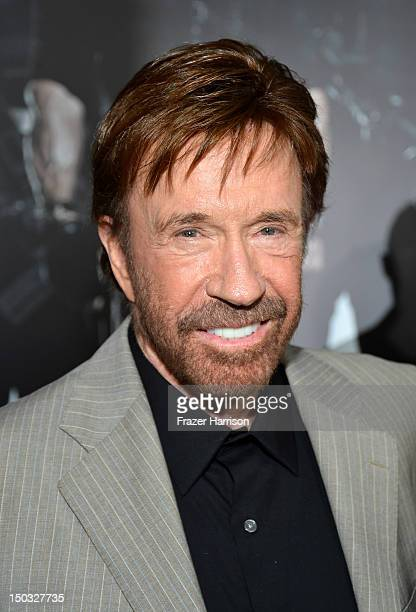 "Actor Chuck Norris arrives at Lionsgate Films' ""The Expendables 2"" premiere on August 15, 2012 in Hollywood, California."
