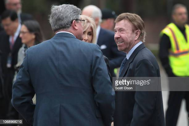 Actor Chuck Norris arrives with other guests for the funeral of President George HW Bush at St Martin's Episcopal Church on December 6 2018 in...