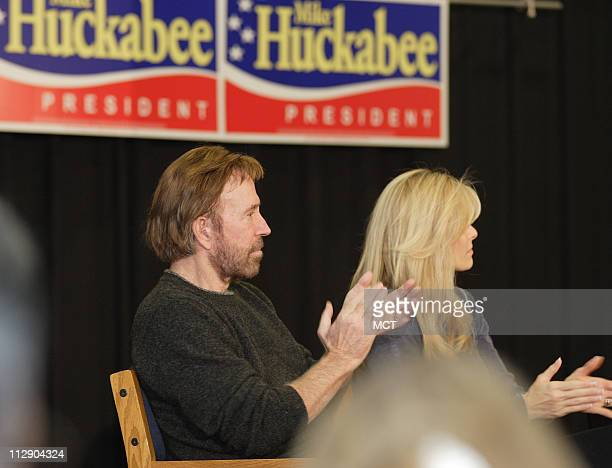 Actor Chuck Norris attends at a rally for Republican presidential candidate Mike Huckabee in Windham New Hampshire Sunday January 6 2008