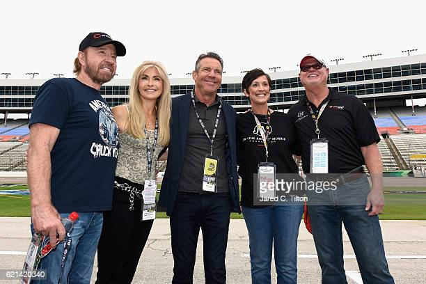 Actor Chuck Norris Gena O'Kelley actor Dennis Quaid Shawna Morris and former Tampa Bay Devil Rays relief pitcher Jim Morris pose prior to the NASCAR...