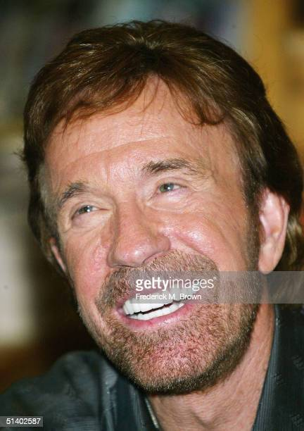 Actor Chuck Norris smiles during a book signing for his new book Against All Odds at Borders Books on October 4 2004 in Northridge California