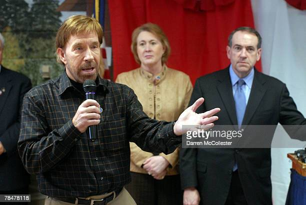 Actor Chuck Norris speaks to senior citizens while presidential hopeful Mike Huckabee and his wife Janet look on December 14 2007 at a campaign event...