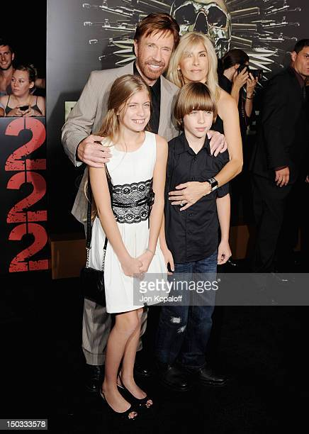 Actor Chuck Norris wife Gena O'Kelly daughter Danilee Kelly and son Dakota Alan arrive at the Los Angeles Premiere 'The Expendables 2' at Grauman's...